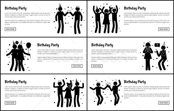 Festa de aniversário monocromático banners conjunto preto Foto stock © robuart