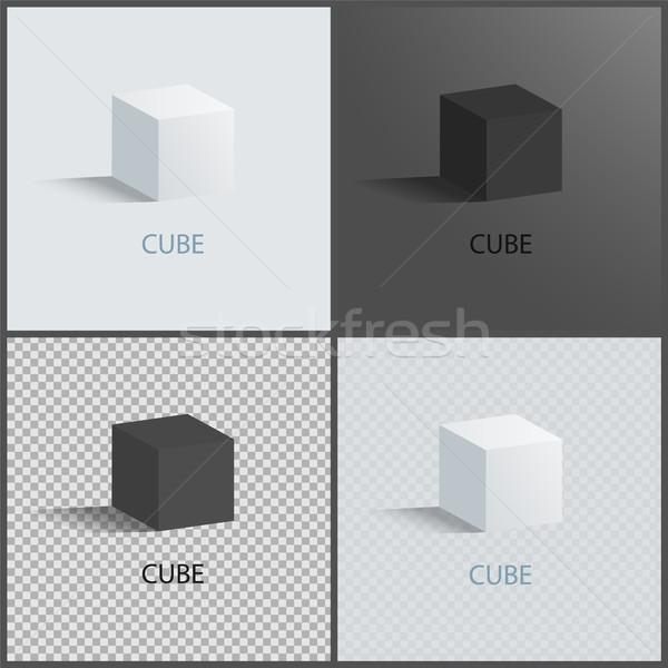 Black and White Cubes Set, Vector Illustration Stock photo © robuart