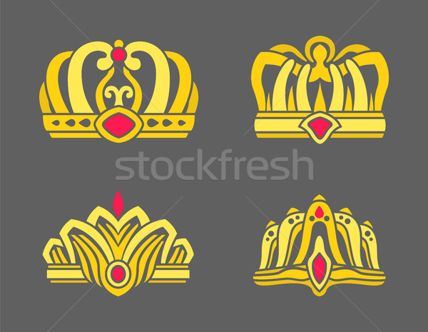 Gold Crowns Inlaid with Rubies for Royalty Set Stock photo © robuart