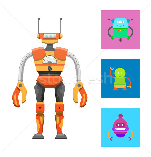 Cute Humanoid Robot, Colorful Vector Illustration Stock photo © robuart