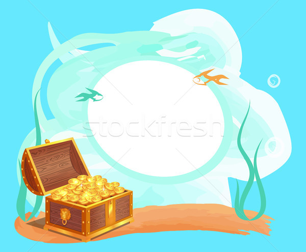 Photo Frame with Gold Coins in Old Wooden Chest Stock photo © robuart
