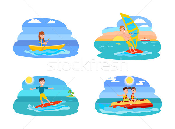 Spelevaren collectie zomer het windsurfen surfen jongen Stockfoto © robuart