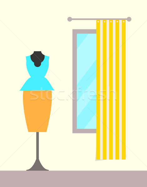 Dressing room with Striped Cover, Suit on Hanger Stock photo © robuart