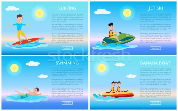 Surfing and Swimming, Banana Boat and Jet Ski Stock photo © robuart