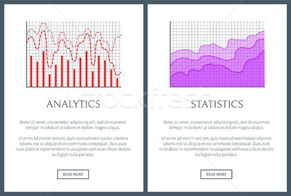 Analytics statistiek ingesteld golvend lijn Stockfoto © robuart