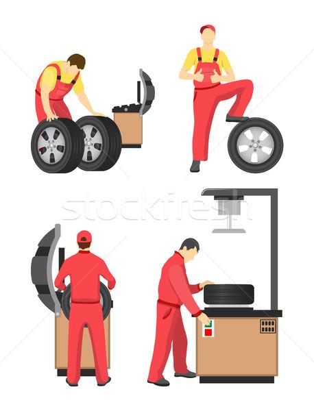 Roue Ouvrir la coloré bannière mécanique rouge Photo stock © robuart