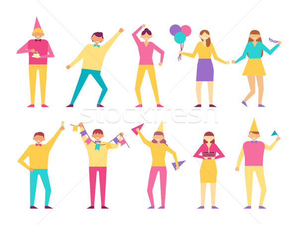 Funny People Celebrate Birthday Party Together Set Stock photo © robuart