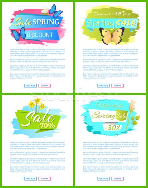 Wiosną sprzedaży internetowych plakat bukiet żonkile Zdjęcia stock © robuart