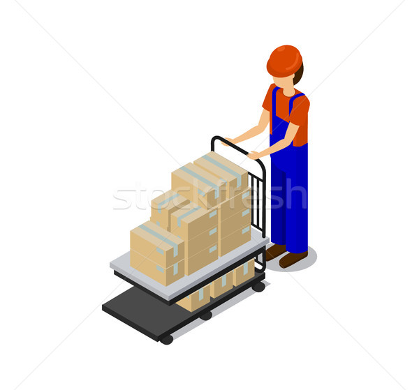 Man in Special Equipment Transporting Products Stock photo © robuart