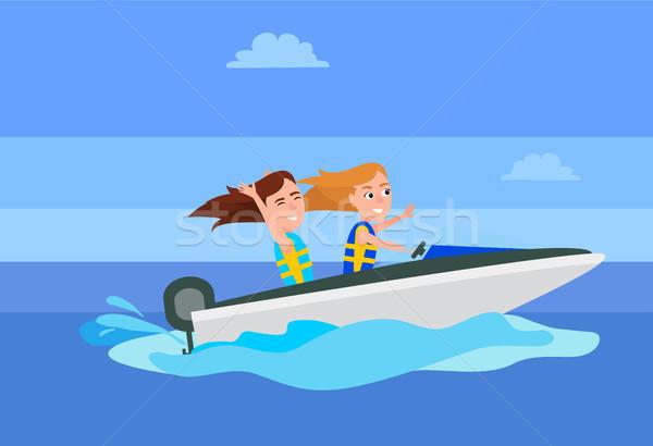 ボート遊び 活動 夏 女の子 ライディング ストックフォト © robuart