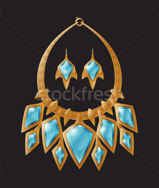 Necklace and Earrings Set Vector Illustration Stock photo © robuart