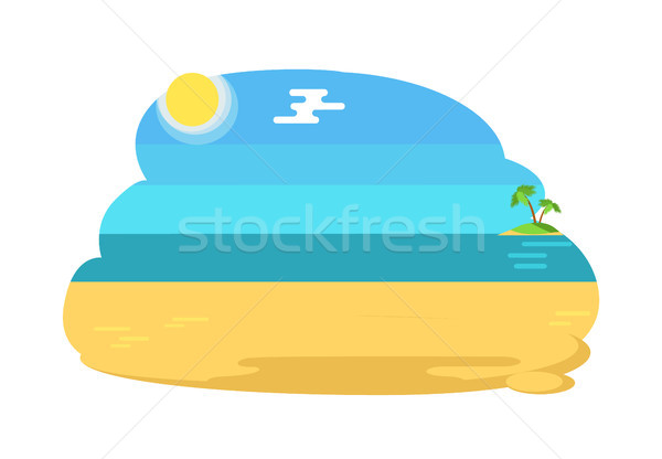 Blue Lagoon Tropical Beach Distant Island and Palm Stock photo © robuart