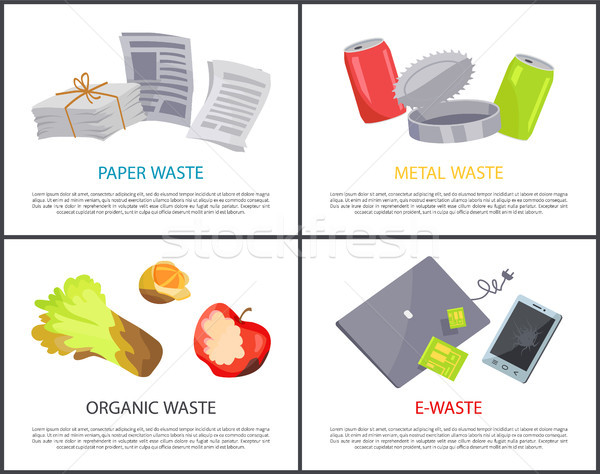 Organic Paper Metal and E-waste Set Colorful Cards Stock photo © robuart