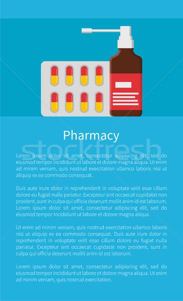 Farmácia cartaz bolha cápsulas aerossol spray Foto stock © robuart