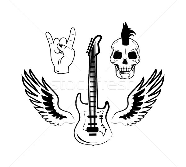Rock rodar símbolos guitarra eléctrica punk cráneo Foto stock © robuart