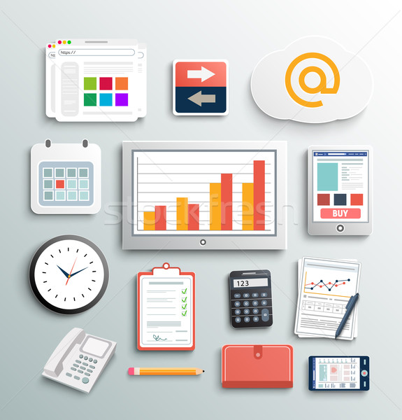 Stock photo: Workplace office and business work elements set
