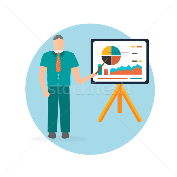 Business man standing pointing at chart and presentation Stock photo © robuart
