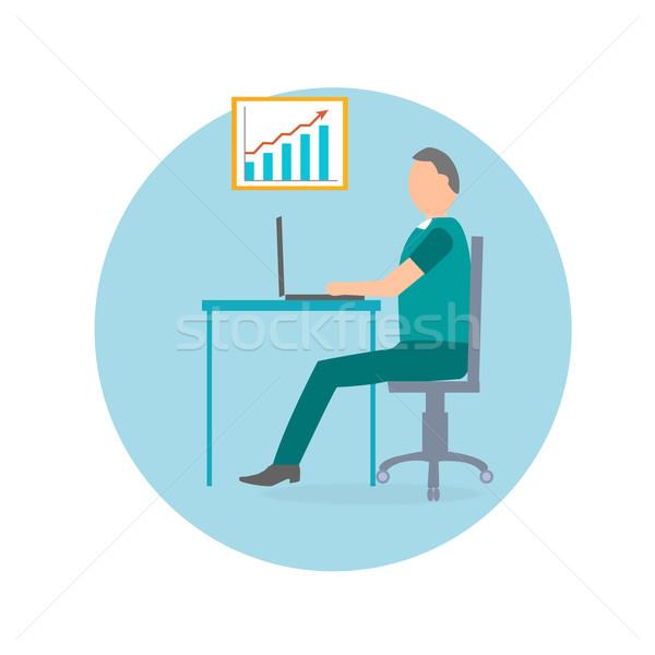 бизнесмен ноутбука офисные кресла красный стрелка диаграммы Сток-фото © robuart