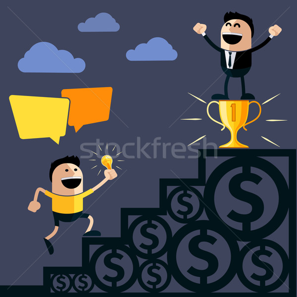 Businessman stands on pedestal cup Stock photo © robuart