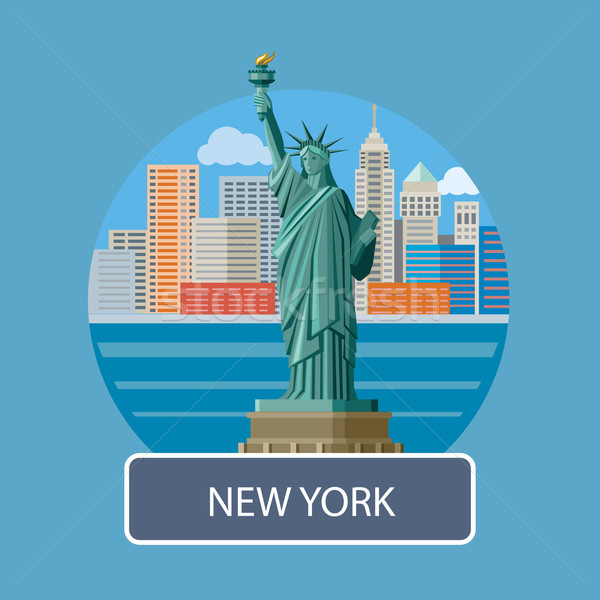 статуя свободы Нью-Йорк Нью-Йорк Cityscape Manhattan Сток-фото © robuart