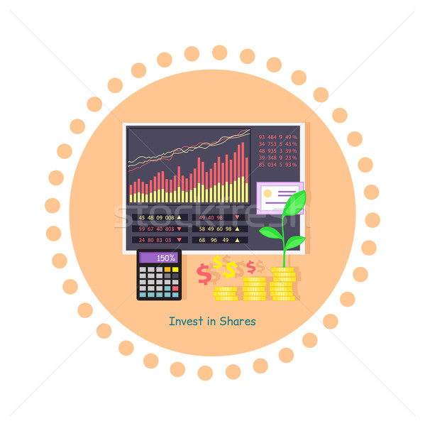 Stock photo: Invest in Shares Concept Icon Flat Design
