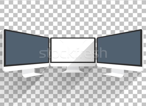 Monitor komputerowy odizolowany Widok komputera czarny ekranu Zdjęcia stock © robuart
