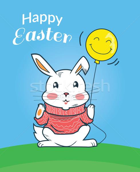 Kellemes húsvétot nyuszi terv húsvét húsvéti nyuszi kártya Stock fotó © robuart