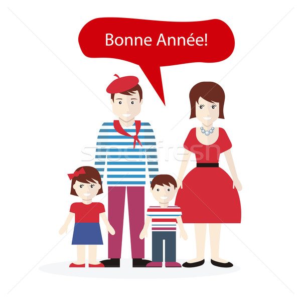 Français personnes félicitations happy new year famille enfant Photo stock © robuart