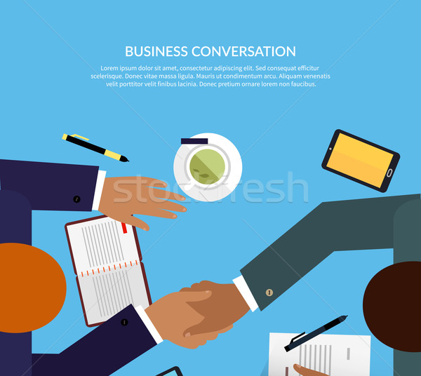Business gesprek ontwerp kleur onderhandeling tabel Stockfoto © robuart