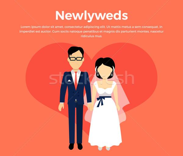Recém-casados casal projeto bandeira estilo belo Foto stock © robuart