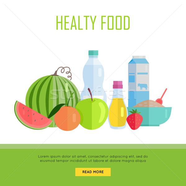 Gezonde voeding web banner illustratie vector ontwerp Stockfoto © robuart