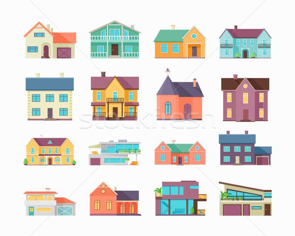 Stock fotó: Nagy · szett · házak · épületek · építészet · izolált