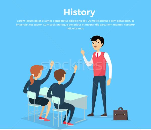 Historii edukacji banner badania komunikacji studentów Zdjęcia stock © robuart