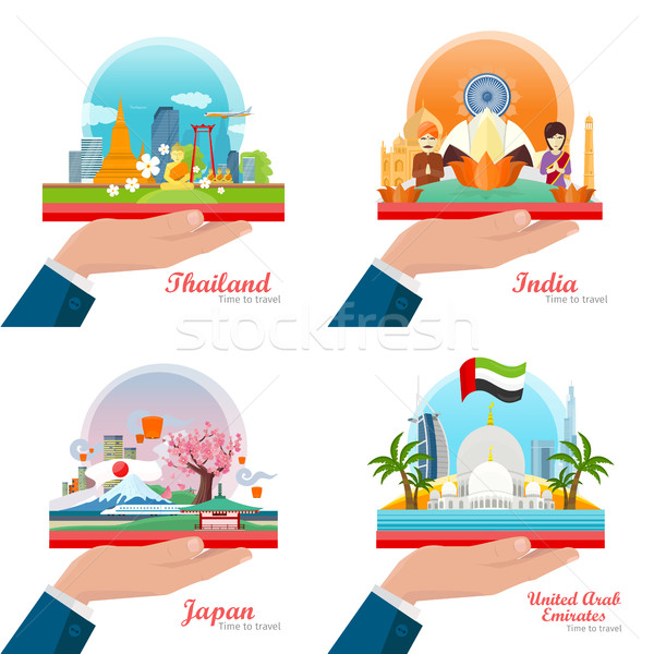 Welcome to Japan, Thailand, India, UAE. Travelling Stock photo © robuart