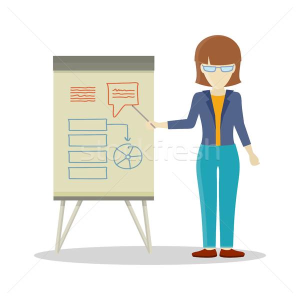 ビジネス女性 プレゼンテーション 茶色の髪 ホワイトボード インフォグラフィック ストックフォト © robuart