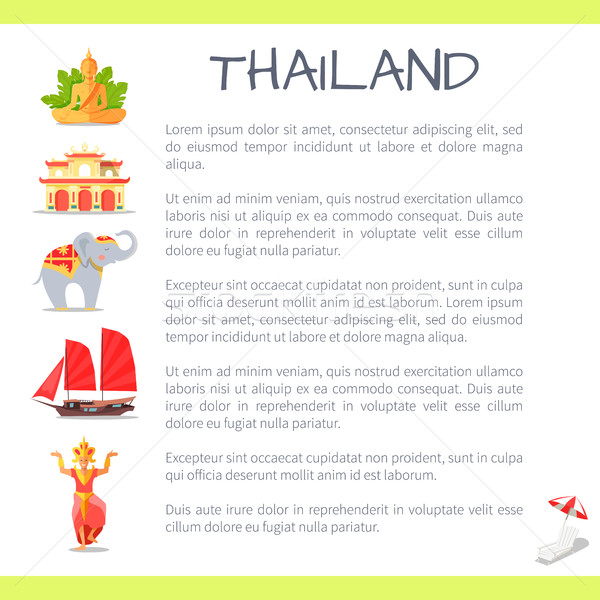 Thailand Touristic Vector Concept with Sample Text Stock photo © robuart