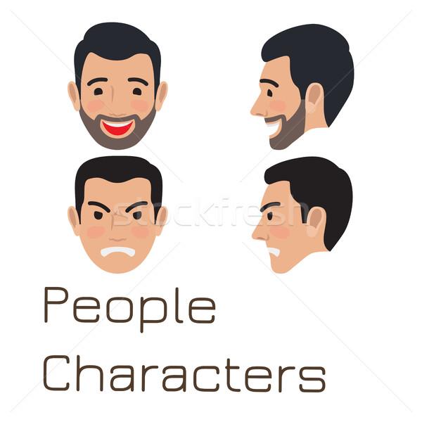 People Characters. Sad and Happy Man Avatar Stock photo © robuart