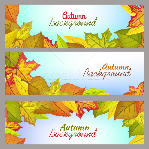 Set of Autumn Background Banners in Flat Design Stock photo © robuart
