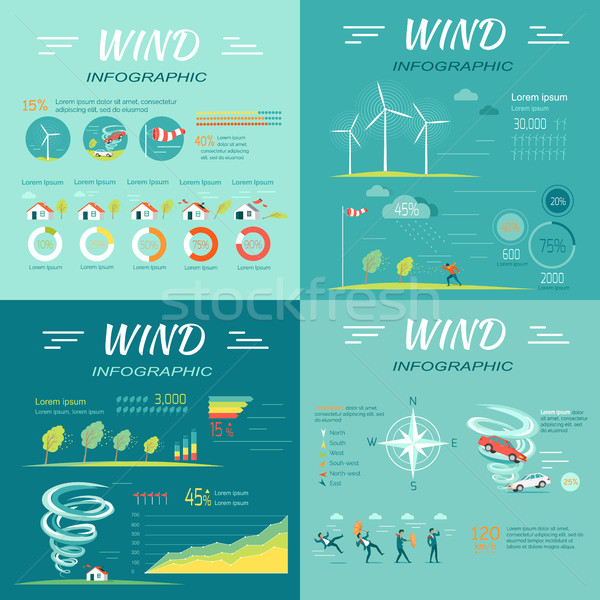 Set of Wind Infographics Vector Illustrations Stock photo © robuart