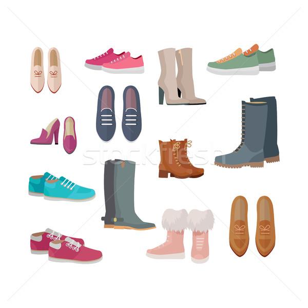 Ingesteld vrouwen schoenen vectoren ontwerp vrouw Stockfoto © robuart
