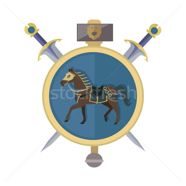 Brown Horse in Gold Circle. Isolated Avatar Icon Stock photo © robuart
