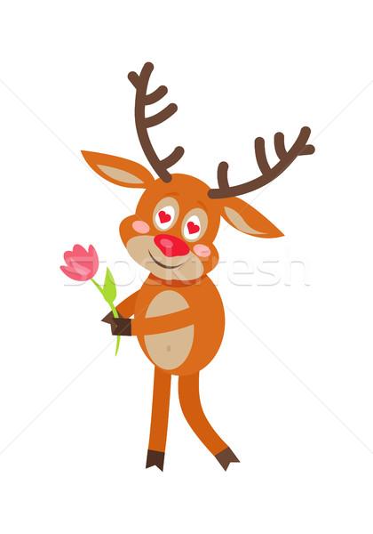 Geyik sevmek karikatür sevimli ren geyiği ayakta Stok fotoğraf © robuart