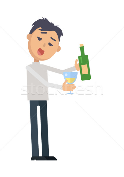 Pijany kobieta szkła wina wektora człowiek Zdjęcia stock © robuart