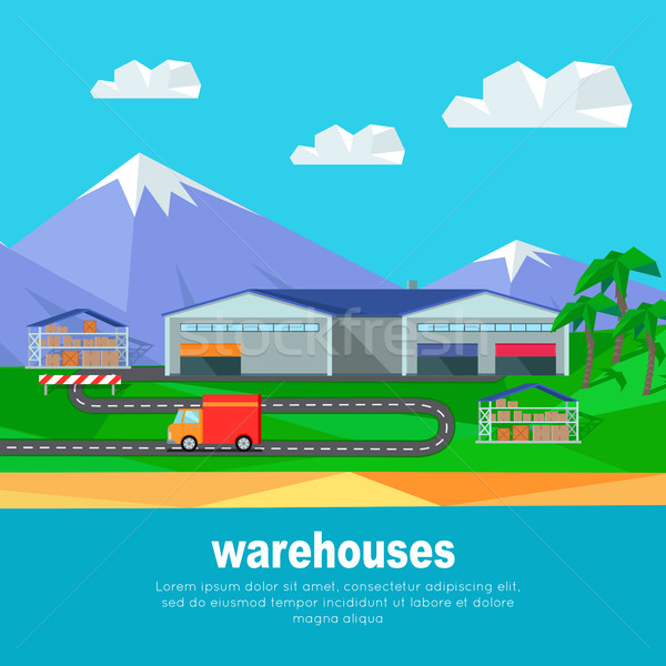 Warehouses in the Mountains Banner. Lorry Track Stock photo © robuart