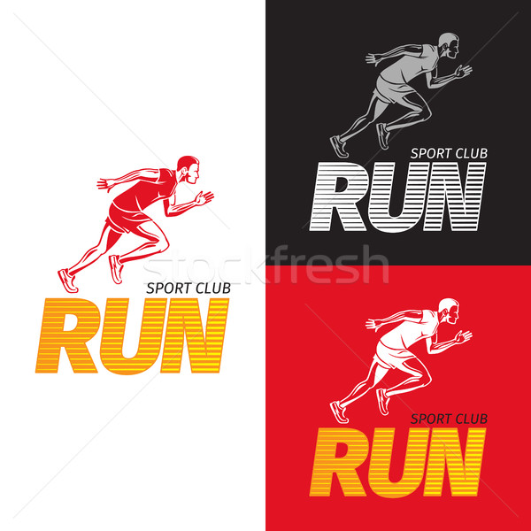 Running Sportsman on Different Background. Sport Club Stock photo © robuart