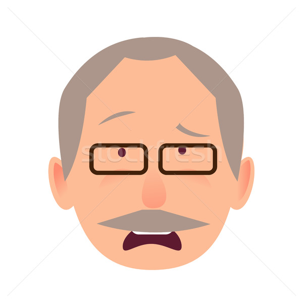 Sorrowful Face Emotion on Elderly Man Head Vector Stock photo © robuart