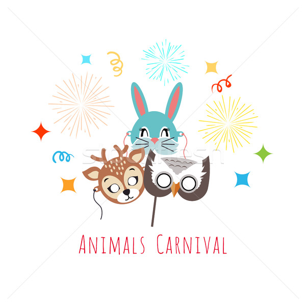 Masks for Animal Carnival. Deer, Rabbit, Owl Stock photo © robuart