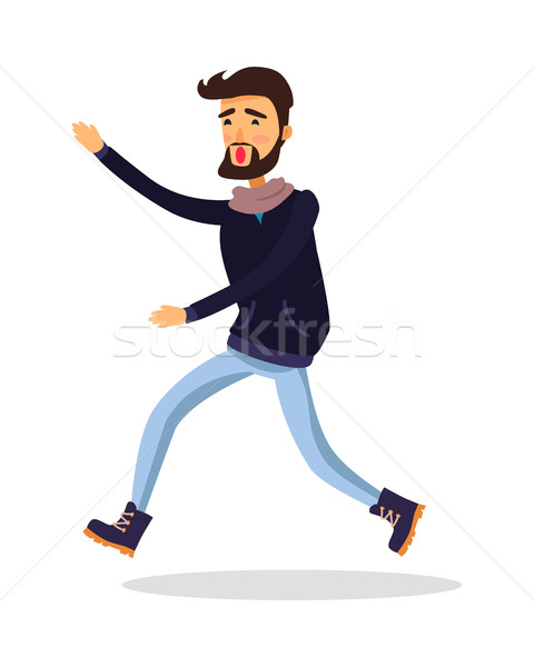 Young Man Running Somewhere Isolated on White. Stock photo © robuart