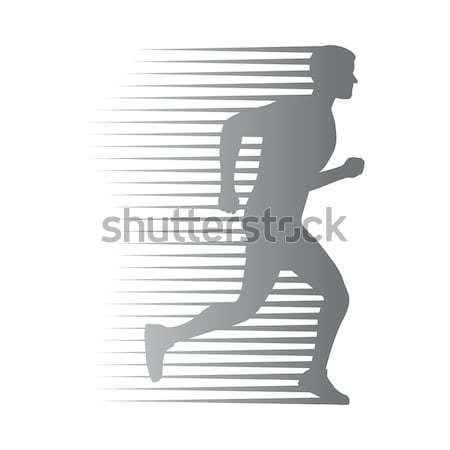 Silhouette of Isolated Running Woman on White Stock photo © robuart