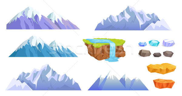 Stock photo: Mountains with Snow Tops, Cliff Stones, Waterfall